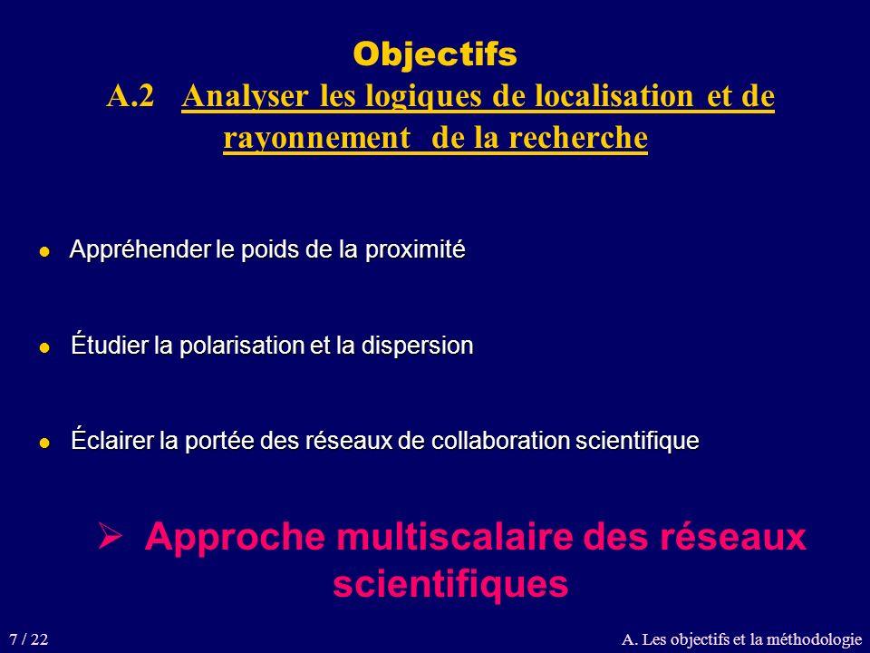 Objectifs A.2 Analyser les logiques de localisation et de rayonnement de la recherche Appréhender le poids de la proximité Appréhender le poids de la