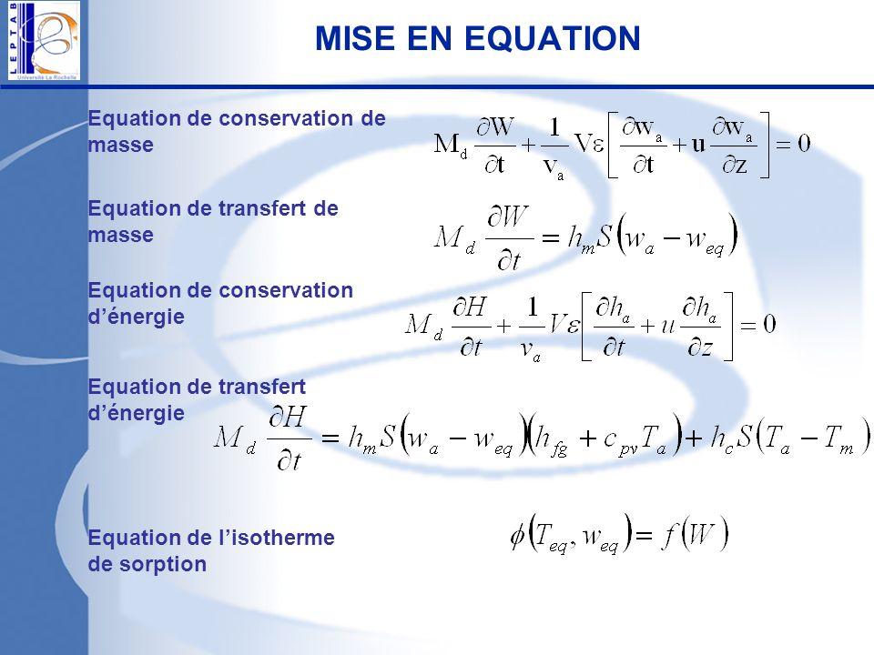 Equation de conservation de masse Equation de transfert de masse Equation de transfert dénergie Equation de conservation dénergie Equation de lisother