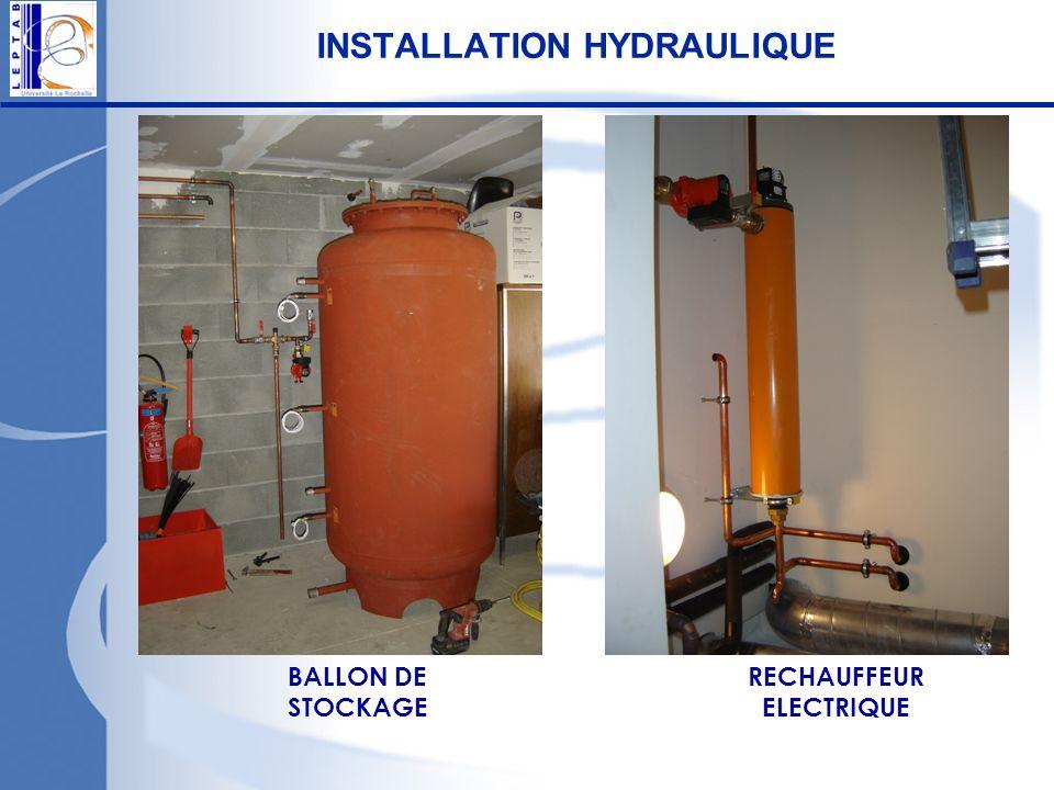 INSTALLATION HYDRAULIQUE BALLON DE STOCKAGE RECHAUFFEUR ELECTRIQUE