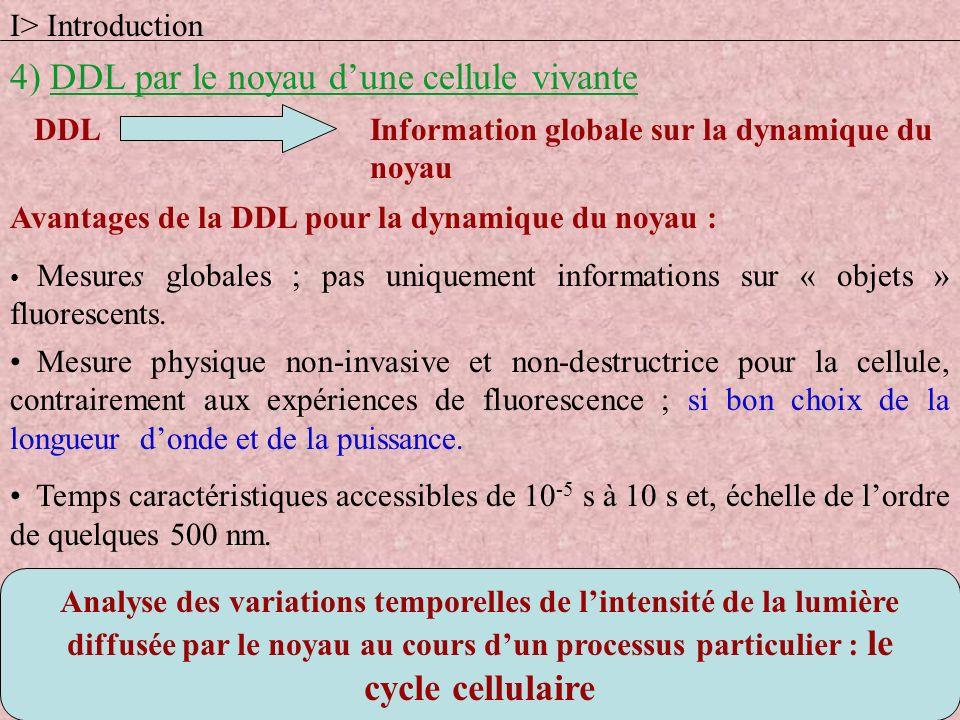 Analyse des variations temporelles de lintensité de la lumière diffusée par le noyau au cours dun processus particulier : le cycle cellulaire Informat