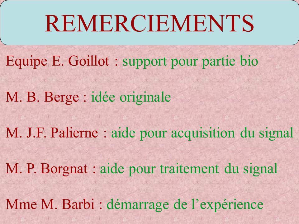 REMERCIEMENTS Equipe E. Goillot : support pour partie bio M. B. Berge : idée originale M. J.F. Palierne : aide pour acquisition du signal M. P. Borgna