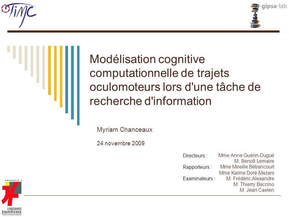 Modélisation cognitive computationnelle de trajets oculomoteurs lors d'une tâche de recherche d'information Myriam Chanceaux 24 novembre 2009 Mme Anne