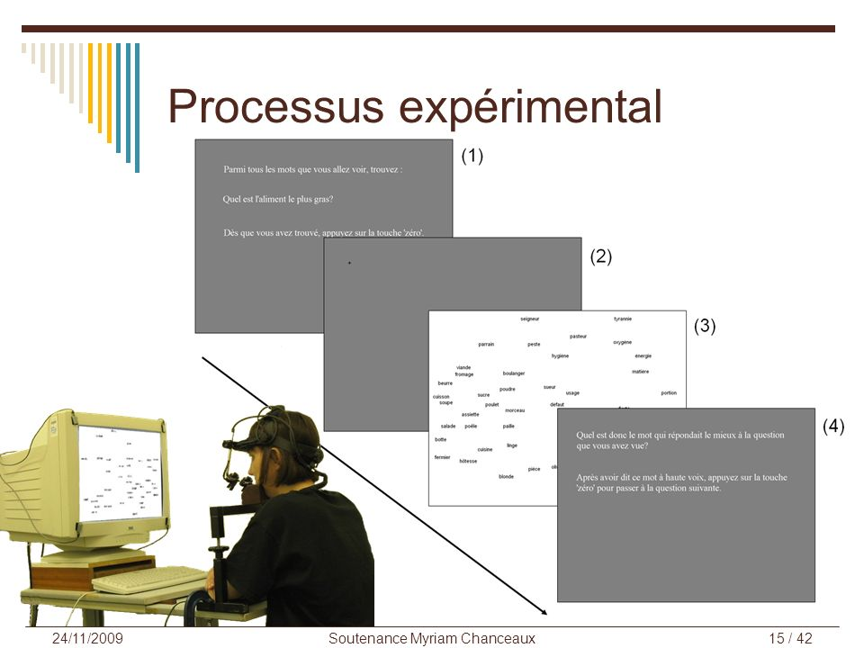 Soutenance Myriam Chanceaux15 / 42 24/11/2009 Processus expérimental
