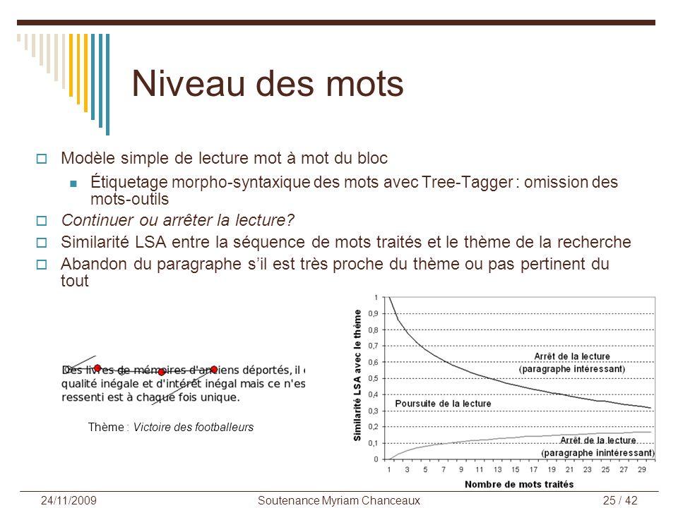 Soutenance Myriam Chanceaux25 / 42 24/11/2009 Niveau des mots Modèle simple de lecture mot à mot du bloc Étiquetage morpho-syntaxique des mots avec Tr