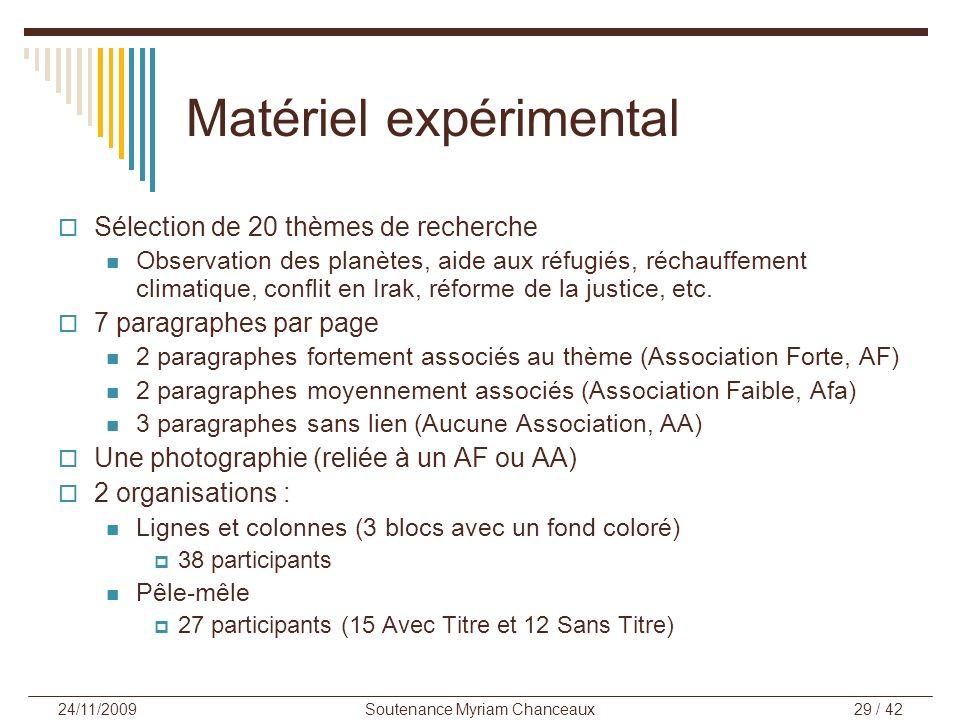 Soutenance Myriam Chanceaux29 / 42 24/11/2009 Matériel expérimental Sélection de 20 thèmes de recherche Observation des planètes, aide aux réfugiés, r
