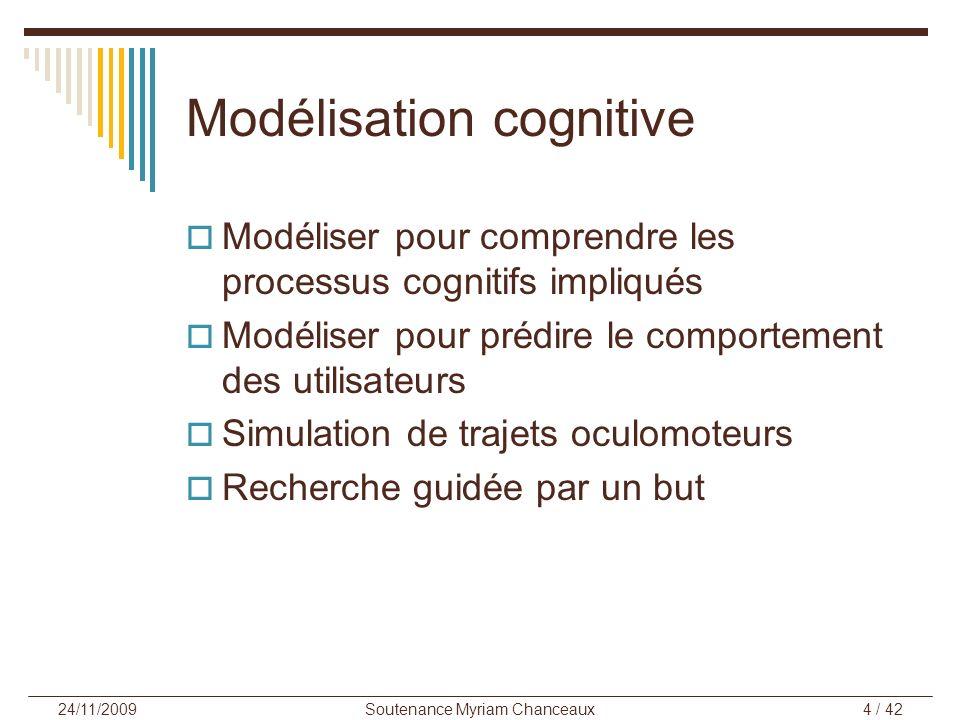 Soutenance Myriam Chanceaux4 / 42 24/11/2009 Modélisation cognitive Modéliser pour comprendre les processus cognitifs impliqués Modéliser pour prédire