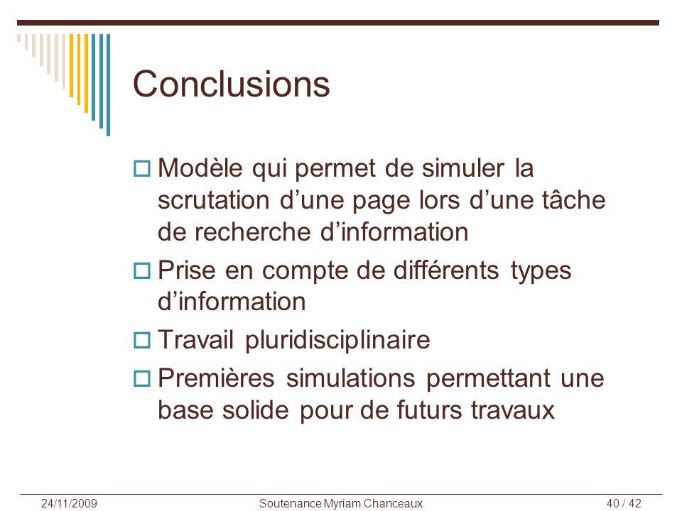 Soutenance Myriam Chanceaux40 / 42 24/11/2009 Conclusions Modèle qui permet de simuler la scrutation dune page lors dune tâche de recherche dinformati