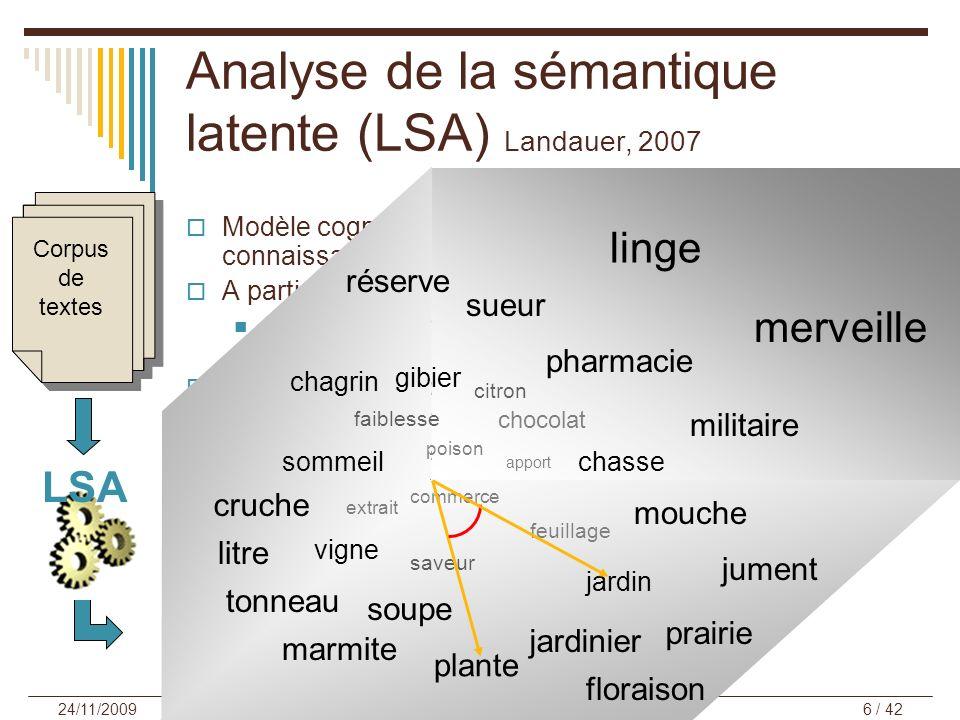 Analyse de la sémantique latente (LSA) Landauer, 2007 Modèle cognitif computationnel de représentation des connaissances sémantiques en mémoire à long