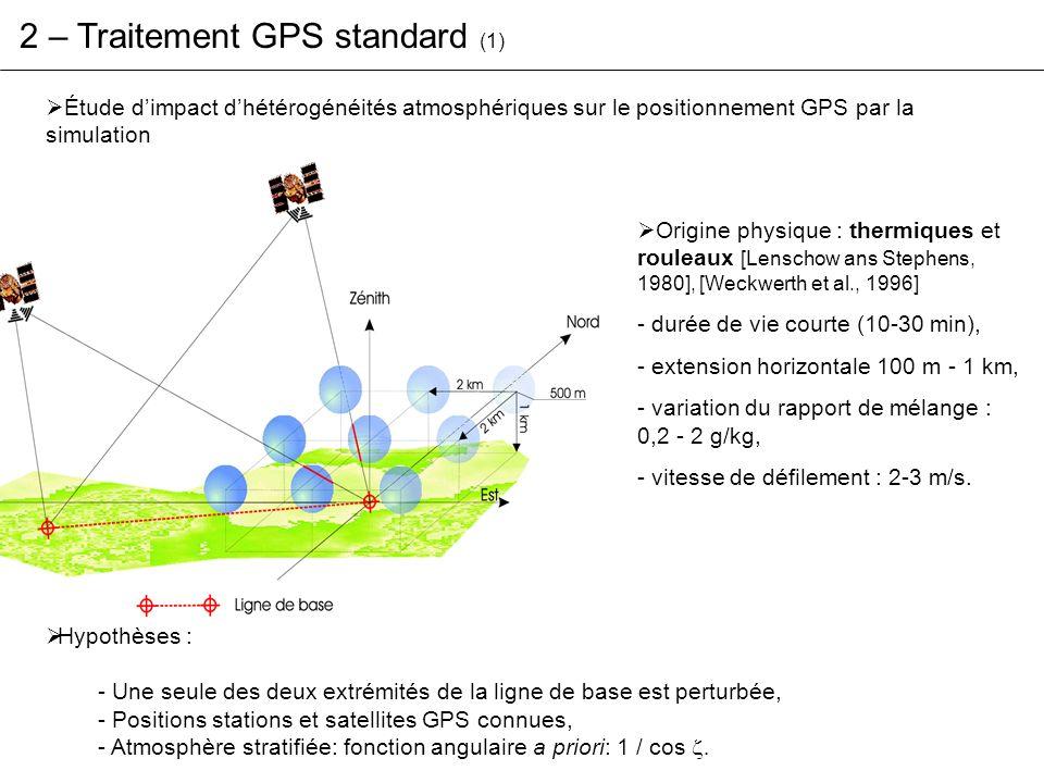 2 – Traitement GPS standard (1) Hypothèses : - Une seule des deux extrémités de la ligne de base est perturbée, - Positions stations et satellites GPS