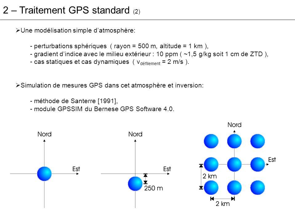 2 – Traitement GPS standard (2) Une modélisation simple datmosphère: - perturbations sphériques ( rayon = 500 m, altitude = 1 km ), - gradient dindice