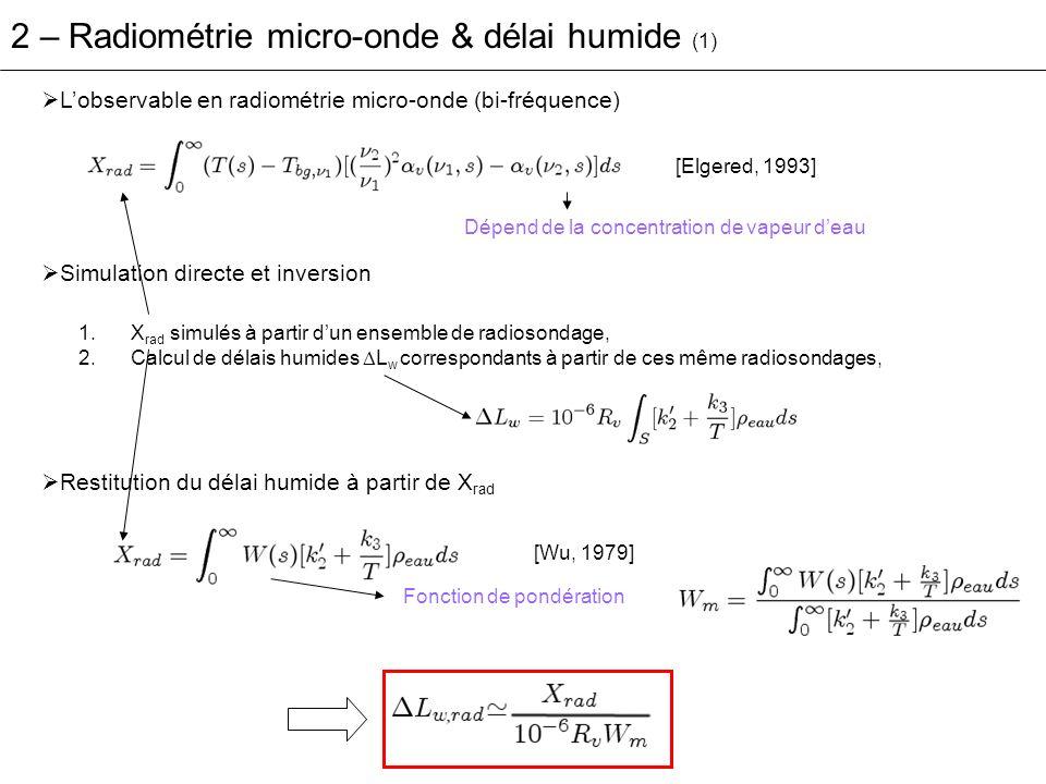 Lobservable en radiométrie micro-onde (bi-fréquence) Simulation directe et inversion 1.X rad simulés à partir dun ensemble de radiosondage, 2.Calcul d