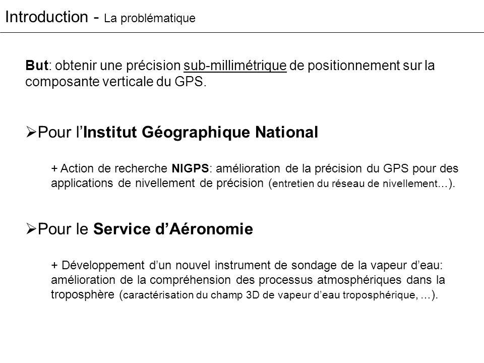 Introduction - La problématique Pour lInstitut Géographique National + Action de recherche NIGPS: amélioration de la précision du GPS pour des applica