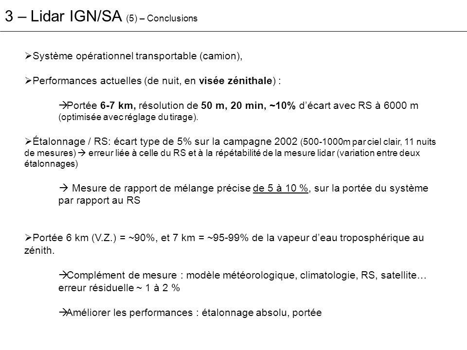 Système opérationnel transportable (camion), Performances actuelles (de nuit, en visée zénithale) : Portée 6-7 km, résolution de 50 m, 20 min, ~10% dé