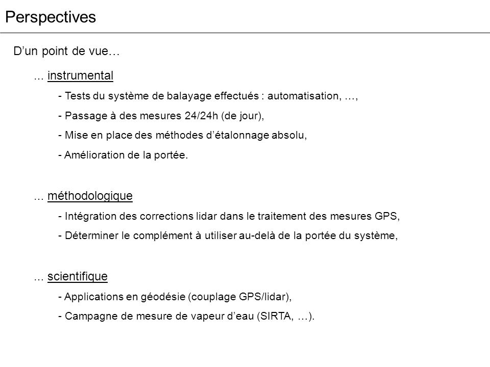 Perspectives … instrumental - Tests du système de balayage effectués : automatisation, …, - Passage à des mesures 24/24h (de jour), - Mise en place de