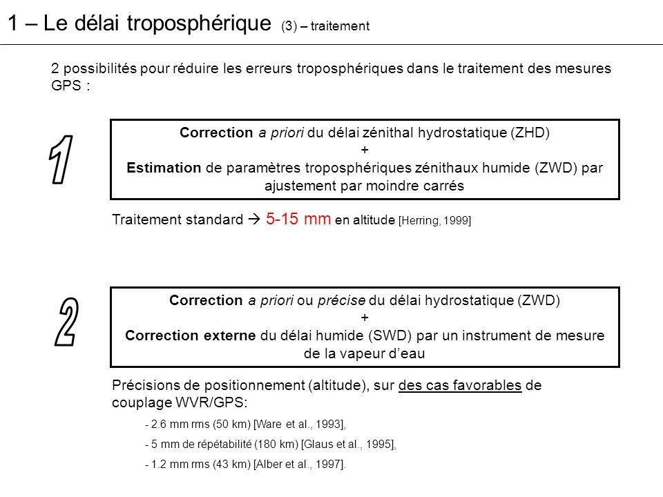 2 possibilités pour réduire les erreurs troposphériques dans le traitement des mesures GPS : Correction a priori du délai zénithal hydrostatique (ZHD)