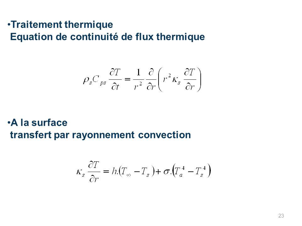 Traitement thermique Equation de continuité de flux thermique A la surface transfert par rayonnement convection 23