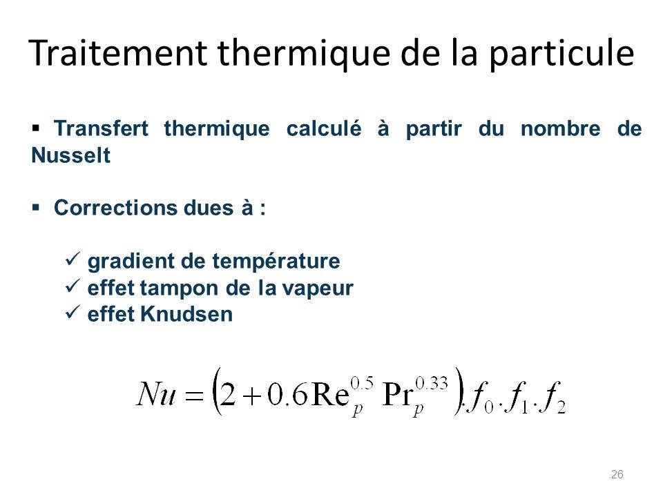 Traitement thermique de la particule Transfert thermique calculé à partir du nombre de Nusselt Corrections dues à : gradient de température effet tamp