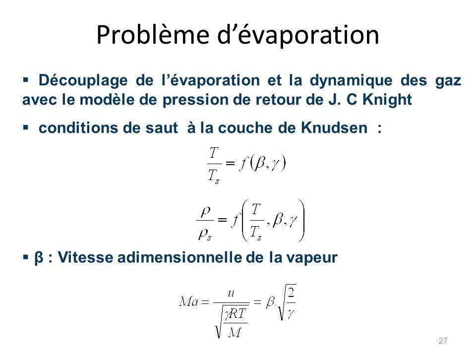 Problème dévaporation Découplage de lévaporation et la dynamique des gaz avec le modèle de pression de retour de J. C Knight conditions de saut à la c