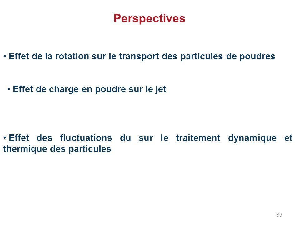 Perspectives Effet de la rotation sur le transport des particules de poudres Effet de charge en poudre sur le jet Effet des fluctuations du sur le tra