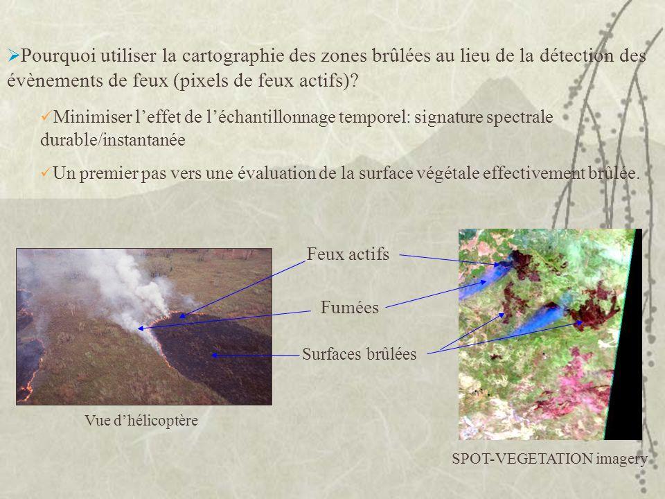 Pourquoi utiliser la cartographie des zones brûlées au lieu de la détection des évènements de feux (pixels de feux actifs)? Minimiser leffet de léchan