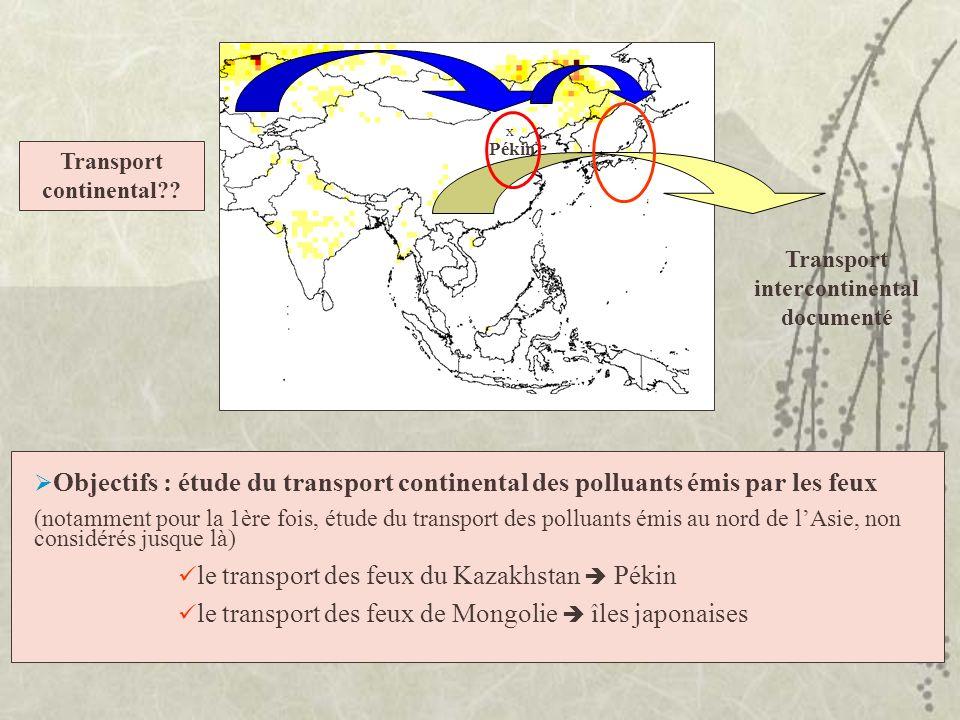 x Pékin Objectifs : étude du transport continental des polluants émis par les feux (notamment pour la 1ère fois, étude du transport des polluants émis