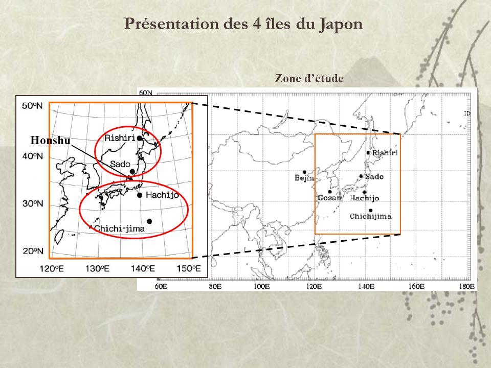 Présentation des 4 îles du Japon Zone détude Honshu