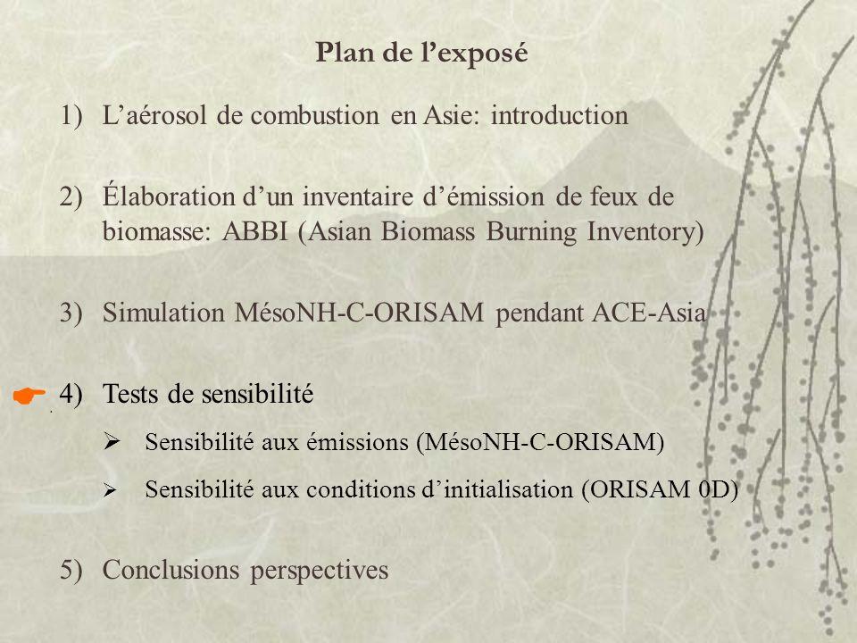 Plan de lexposé 1)Laérosol de combustion en Asie: introduction 2)Élaboration dun inventaire démission de feux de biomasse: ABBI (Asian Biomass Burning