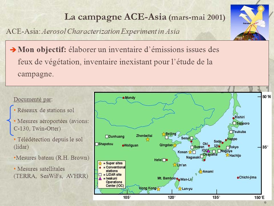 La campagne ACE-Asia (mars-mai 2001) Améliorer notre compréhension de limpact des aérosols atmosphériques sur le système climatique terrestre. ACE-Asi