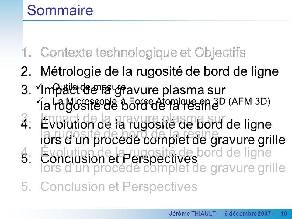 10Jérôme THIAULT - 6 décembre 2007 - 1.Contexte technologique et Objectifs 2.Métrologie de la rugosité de bord de ligne 3.Impact de la gravure plasma