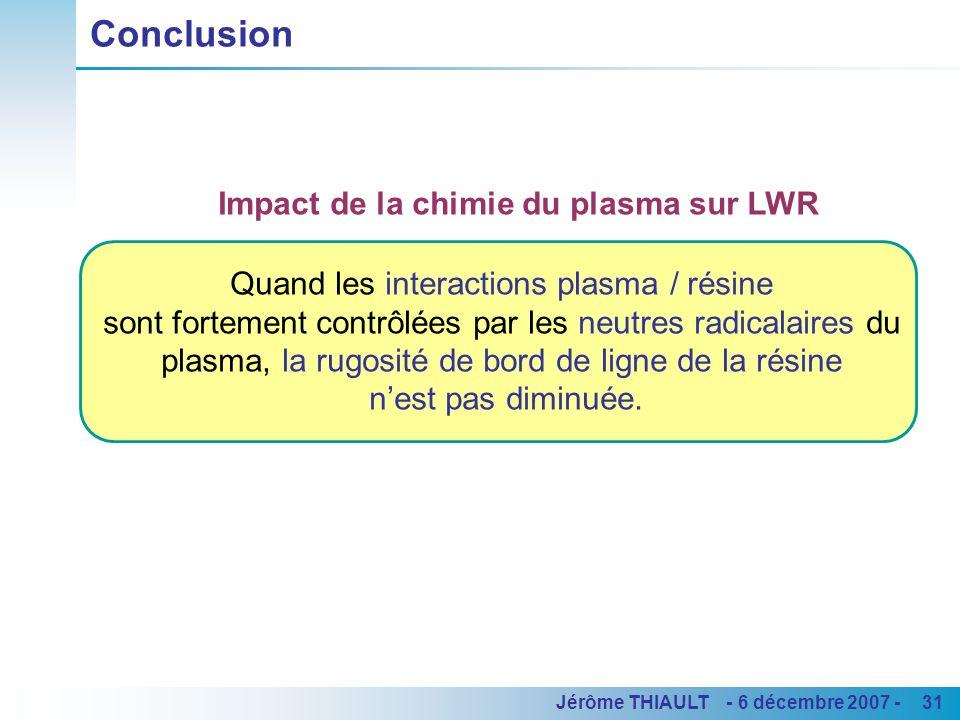 31Jérôme THIAULT - 6 décembre 2007 - Quand les interactions plasma / résine sont fortement contrôlées par les neutres radicalaires du plasma, la rugos