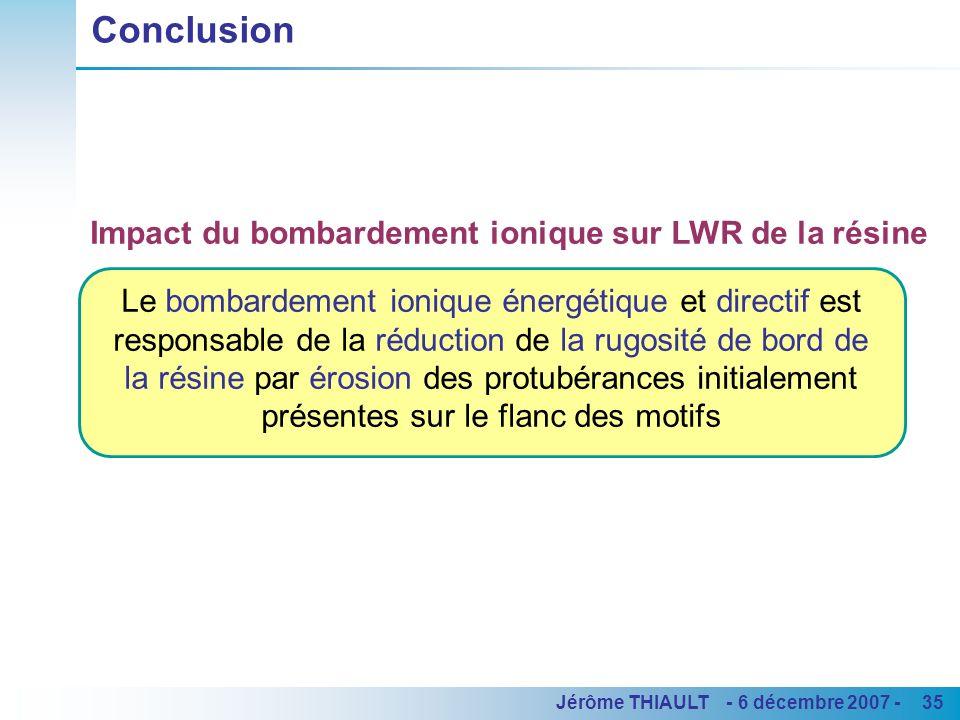 35Jérôme THIAULT - 6 décembre 2007 - Le bombardement ionique énergétique et directif est responsable de la réduction de la rugosité de bord de la rési