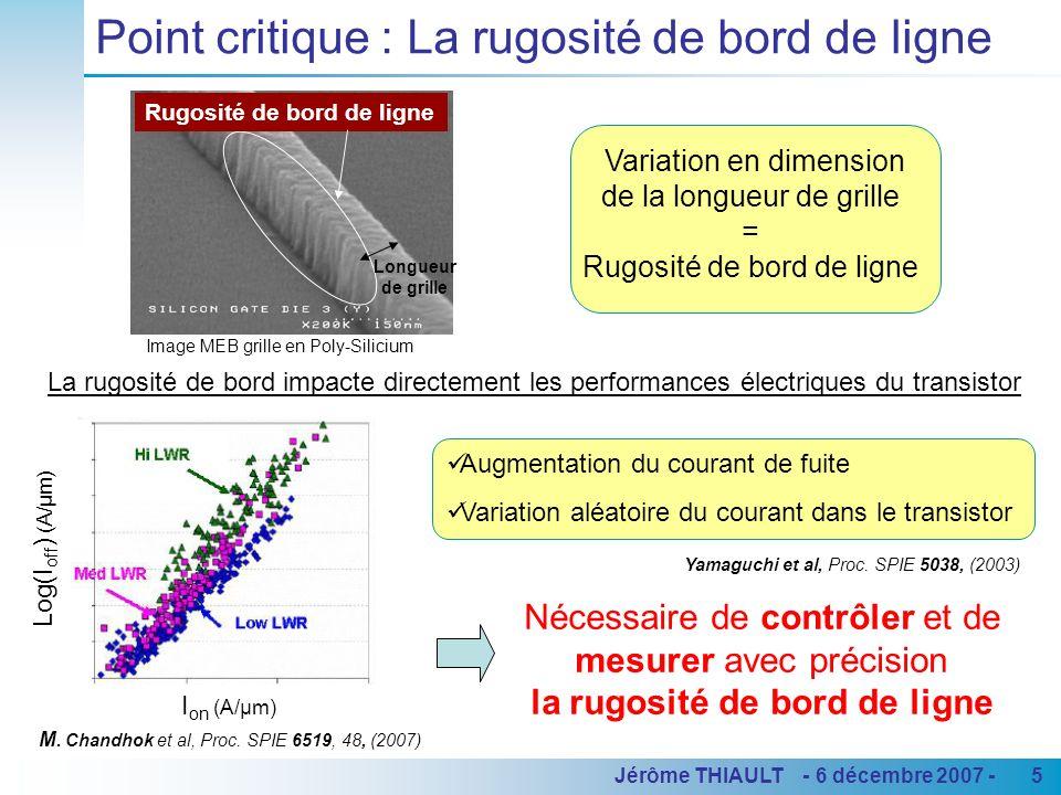 5Jérôme THIAULT - 6 décembre 2007 - Point critique : La rugosité de bord de ligne Variation en dimension de la longueur de grille = Rugosité de bord d