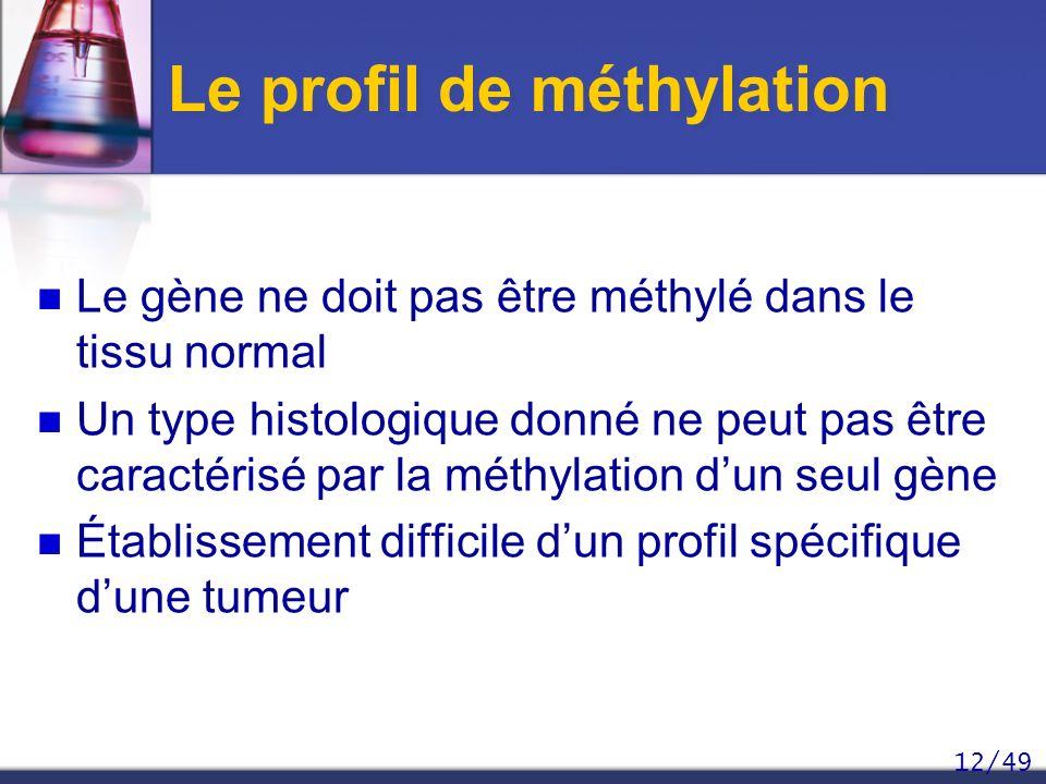 12/49 Le profil de méthylation Le gène ne doit pas être méthylé dans le tissu normal Un type histologique donné ne peut pas être caractérisé par la mé