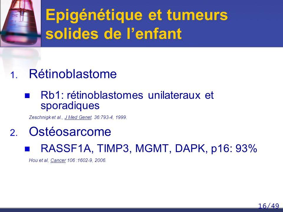 16/49 Epigénétique et tumeurs solides de lenfant 1. Rétinoblastome Rb1: rétinoblastomes unilateraux et sporadiques Zeschnigk et al., J Med Genet. 36:7