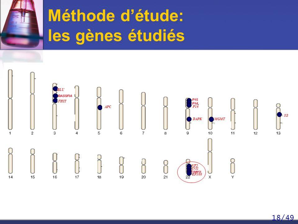 18/49 Méthode détude: les gènes étudiés DAPKMGMT INI1 NF2 EP300 APC RB BLU FHIT P16