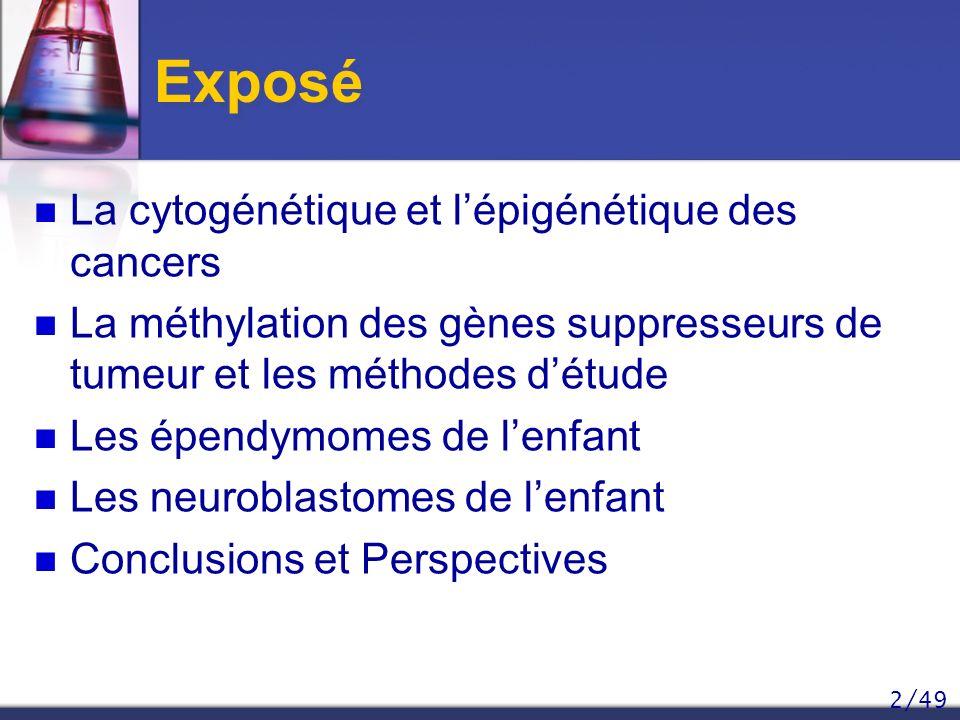 2/49 Exposé La cytogénétique et lépigénétique des cancers La méthylation des gènes suppresseurs de tumeur et les méthodes détude Les épendymomes de le