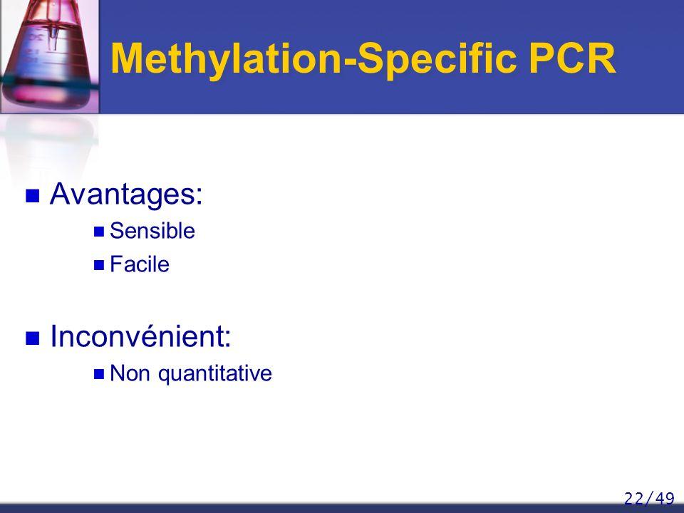 22/49 Methylation-Specific PCR Avantages: Sensible Facile Inconvénient: Non quantitative