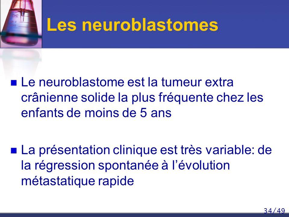34/49 Les neuroblastomes Le neuroblastome est la tumeur extra crânienne solide la plus fréquente chez les enfants de moins de 5 ans La présentation cl