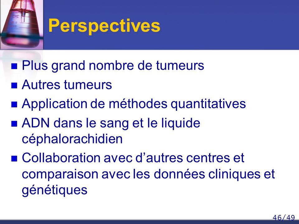 46/49 Perspectives Plus grand nombre de tumeurs Autres tumeurs Application de méthodes quantitatives ADN dans le sang et le liquide céphalorachidien C