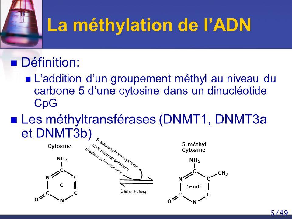 5/49 Définition: Laddition dun groupement méthyl au niveau du carbone 5 dune cytosine dans un dinucléotide CpG Les méthyltransférases (DNMT1, DNMT3a e