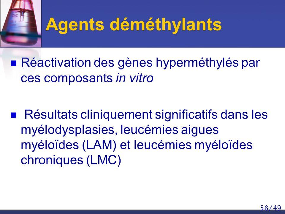 58/49 Agents déméthylants Réactivation des gènes hyperméthylés par ces composants in vitro Résultats cliniquement significatifs dans les myélodysplasi