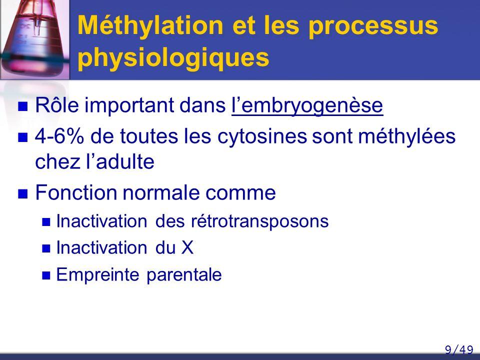 9/49 Méthylation et les processus physiologiques Rôle important dans lembryogenèse 4-6% de toutes les cytosines sont méthylées chez ladulte Fonction n