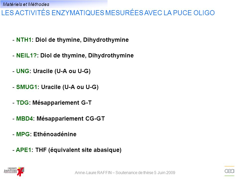 LES ACTIVITÉS ENZYMATIQUES MESURÉES AVEC LA PUCE OLIGO Anne-Laure RAFFIN – Soutenance de thèse 5 Juin 2009 - NTH1: Diol de thymine, Dihydrothymine - N