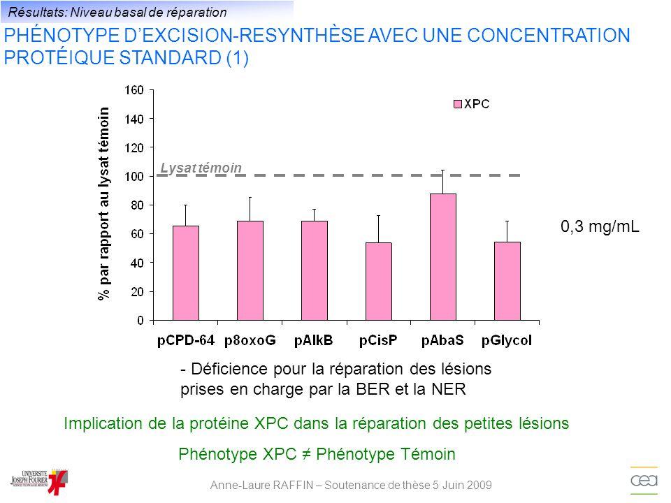Anne-Laure RAFFIN – Soutenance de thèse 5 Juin 2009 Résultats: Niveau basal de réparation 0,3 mg/mL - Déficience pour la réparation des lésions prises