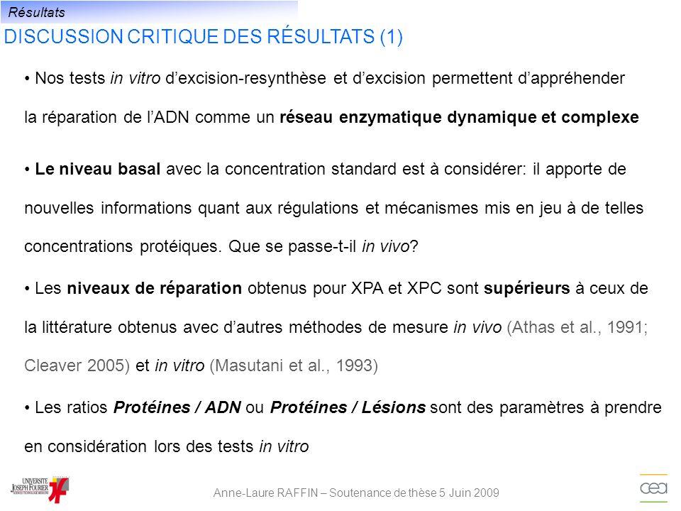 DISCUSSION CRITIQUE DES RÉSULTATS (1) Anne-Laure RAFFIN – Soutenance de thèse 5 Juin 2009 Nos tests in vitro dexcision-resynthèse et dexcision permett