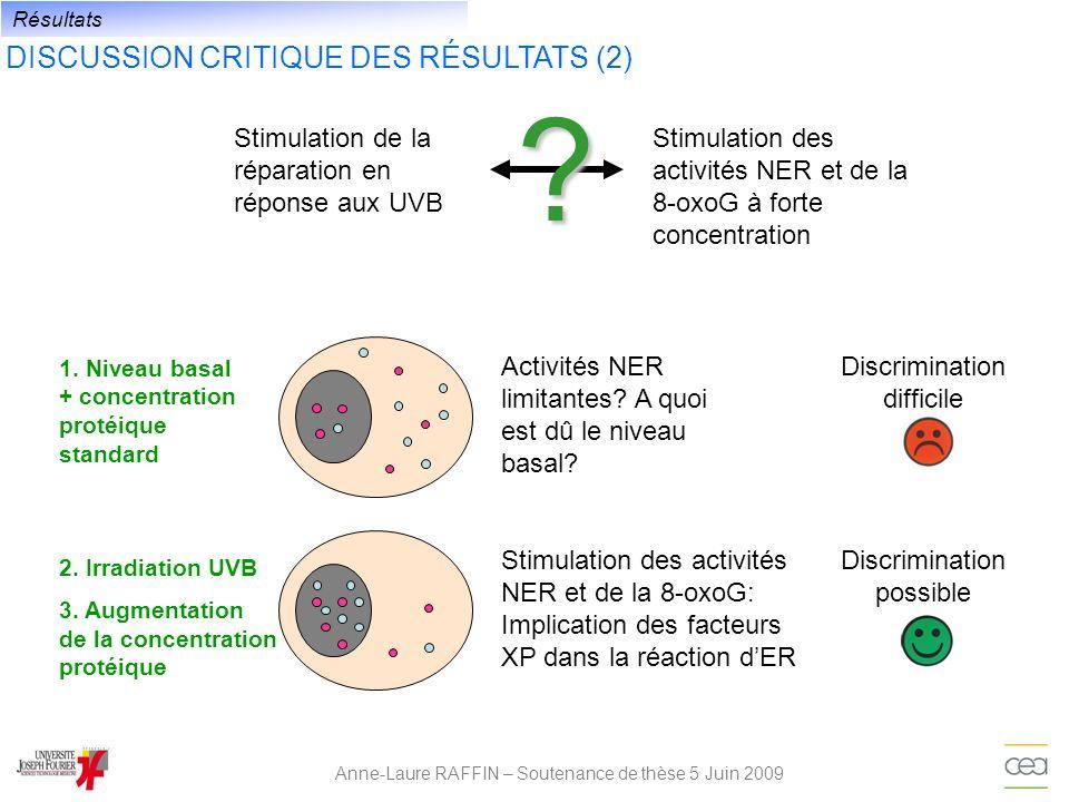 DISCUSSION CRITIQUE DES RÉSULTATS (2) Anne-Laure RAFFIN – Soutenance de thèse 5 Juin 2009 Résultats Stimulation de la réparation en réponse aux UVB St