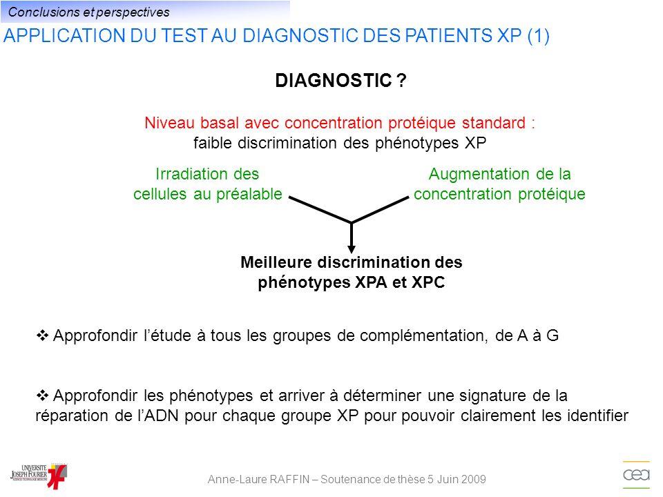 APPLICATION DU TEST AU DIAGNOSTIC DES PATIENTS XP (1) Anne-Laure RAFFIN – Soutenance de thèse 5 Juin 2009 Niveau basal avec concentration protéique st