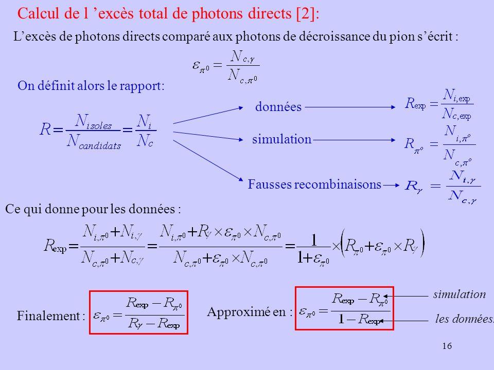 16 Calcul de l excès total de photons directs [2]: Ce qui donne pour les données : Finalement : Approximé en : simulation les données. On définit alor