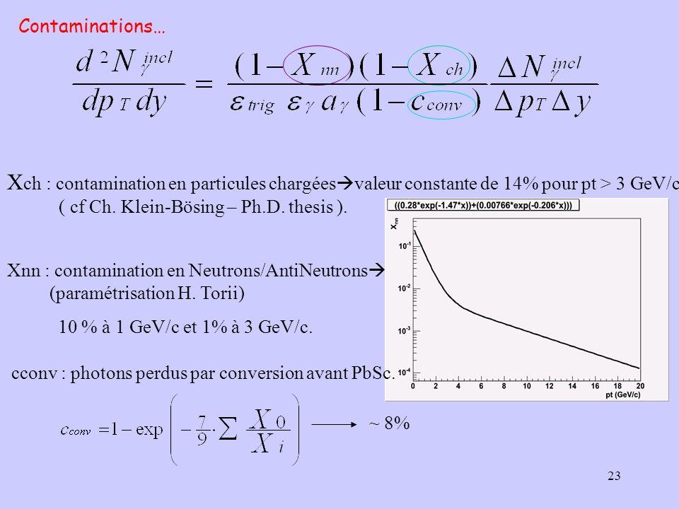 23 X ch : contamination en particules chargées valeur constante de 14% pour pt > 3 GeV/c ( cf Ch. Klein-Bösing – Ph.D. thesis ). Xnn : contamination e