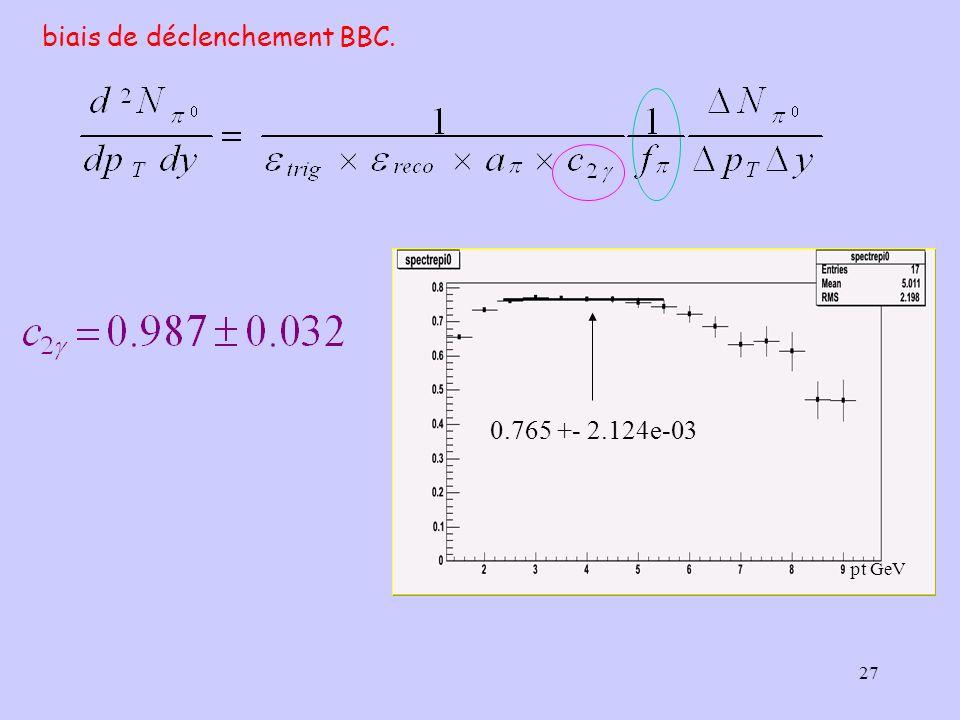 27 biais de déclenchement BBC. 0.765 +- 2.124e-03 pt GeV